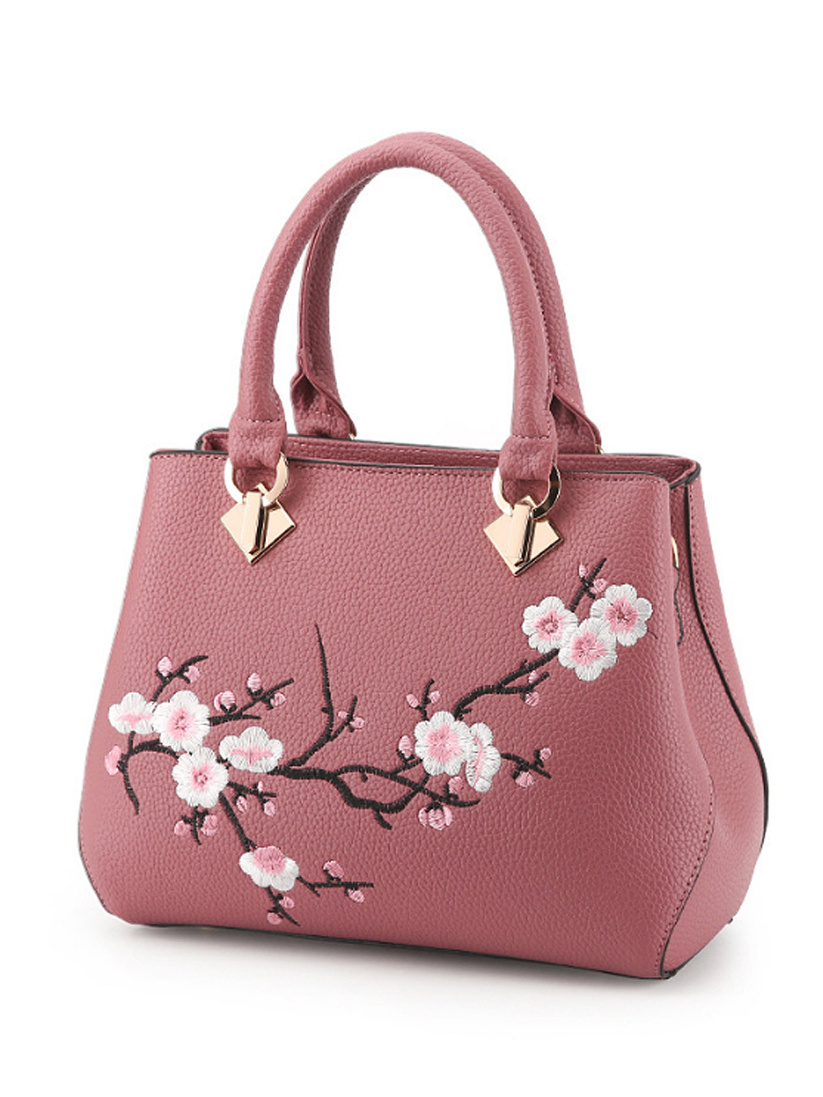 Embroidery Flower Pu Shoulder Bag