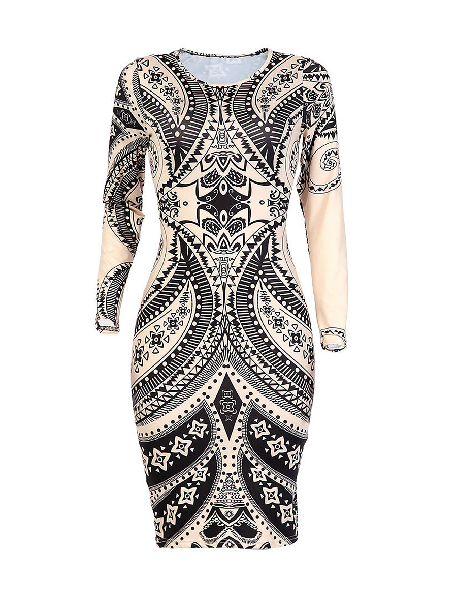Round Neck Hot Designed Cutout Printed Bodycon Dress