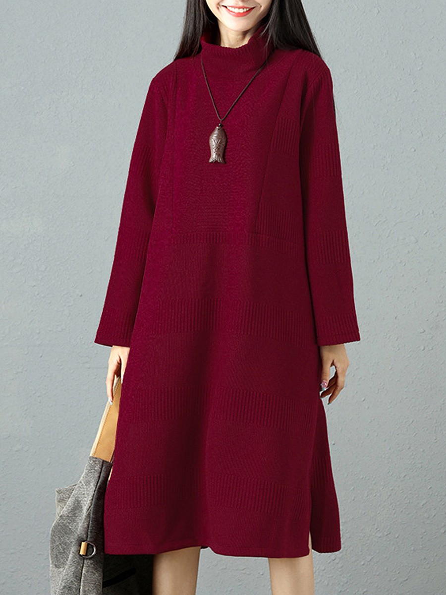Band Collar  Plain  Cotton Maxi Dress