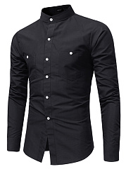 Band-Collar-Patch-Pocket-Plain-Men-Shirts