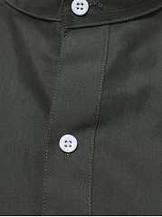 Band Collar Patch Pocket Plain Men Shirts