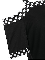 Summer  Cotton  Women  Open Shoulder  Patchwork  Plain Polka Dot Short Sleeve T-Shirts