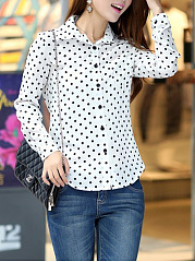 Vintage Polka Dot Long Sleeve Blouse