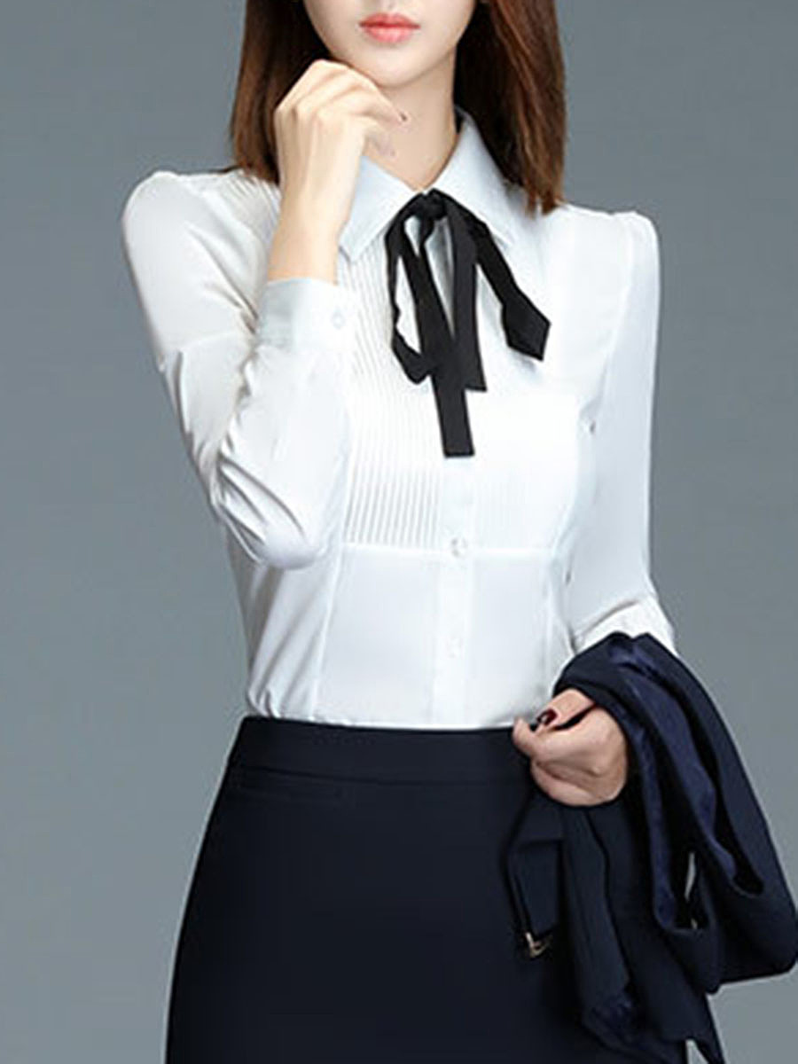 Contrast Bowknot Pleated Blouse