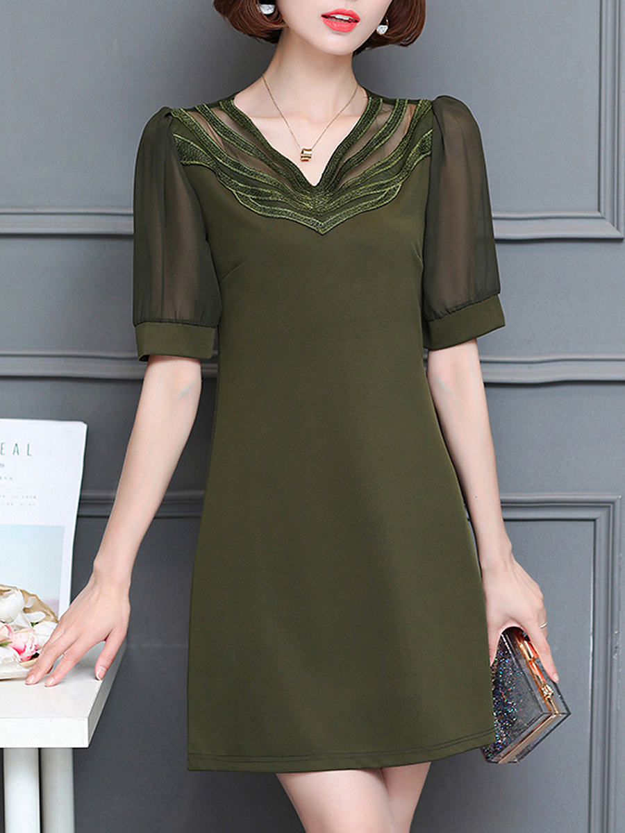V-Neck Hollow Out Plain Chiffon Shift Dress