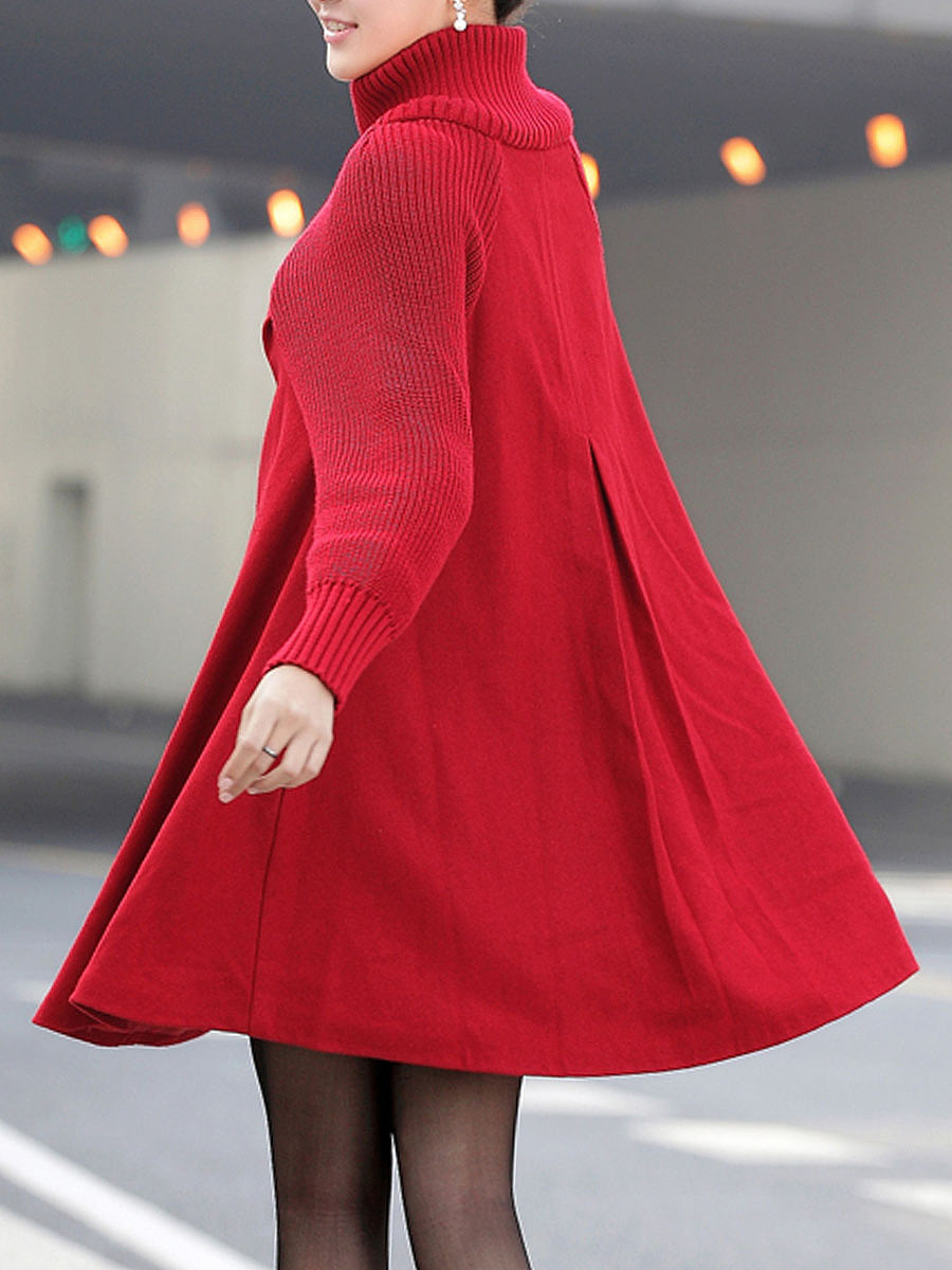 High Neck Patchwork Plain Woolen Coat