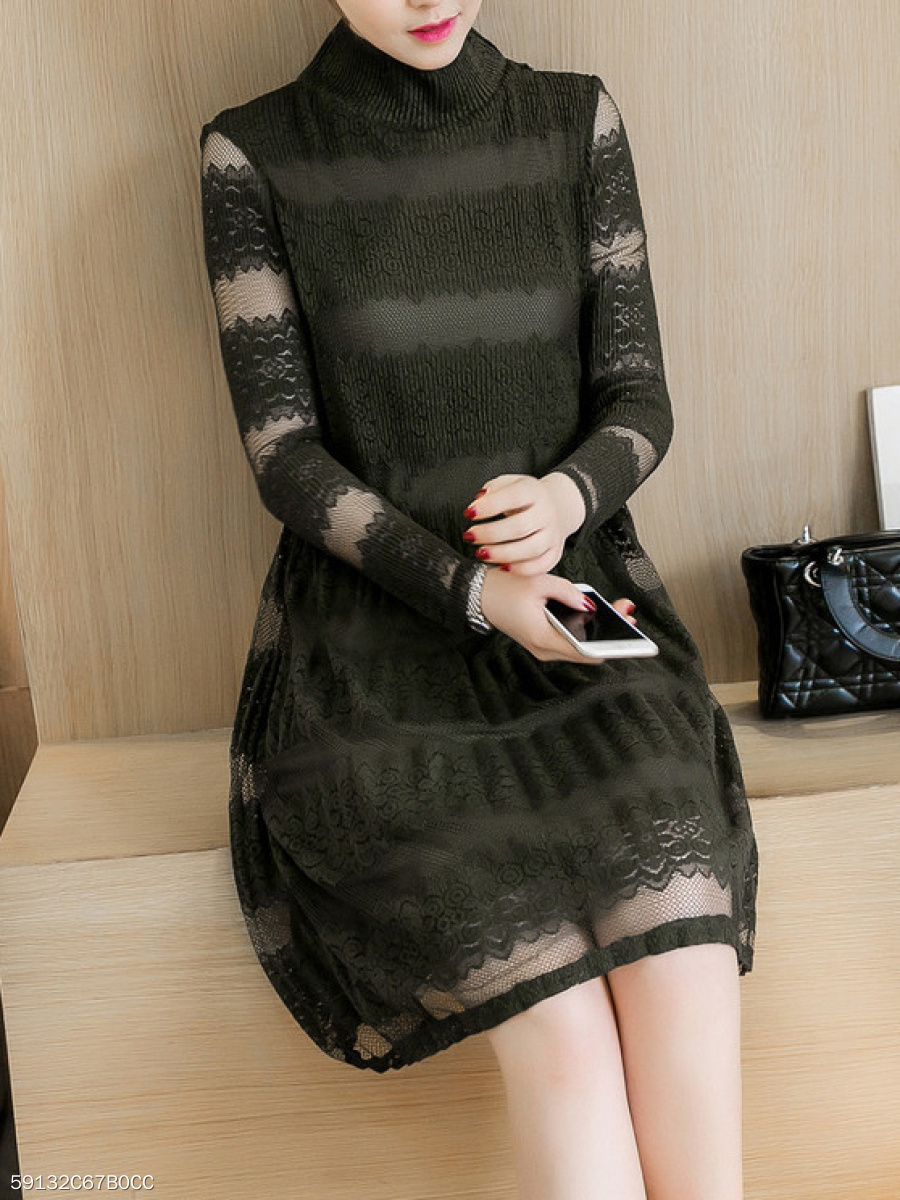 High Neck  Hollow Out Lace Skater Dress
