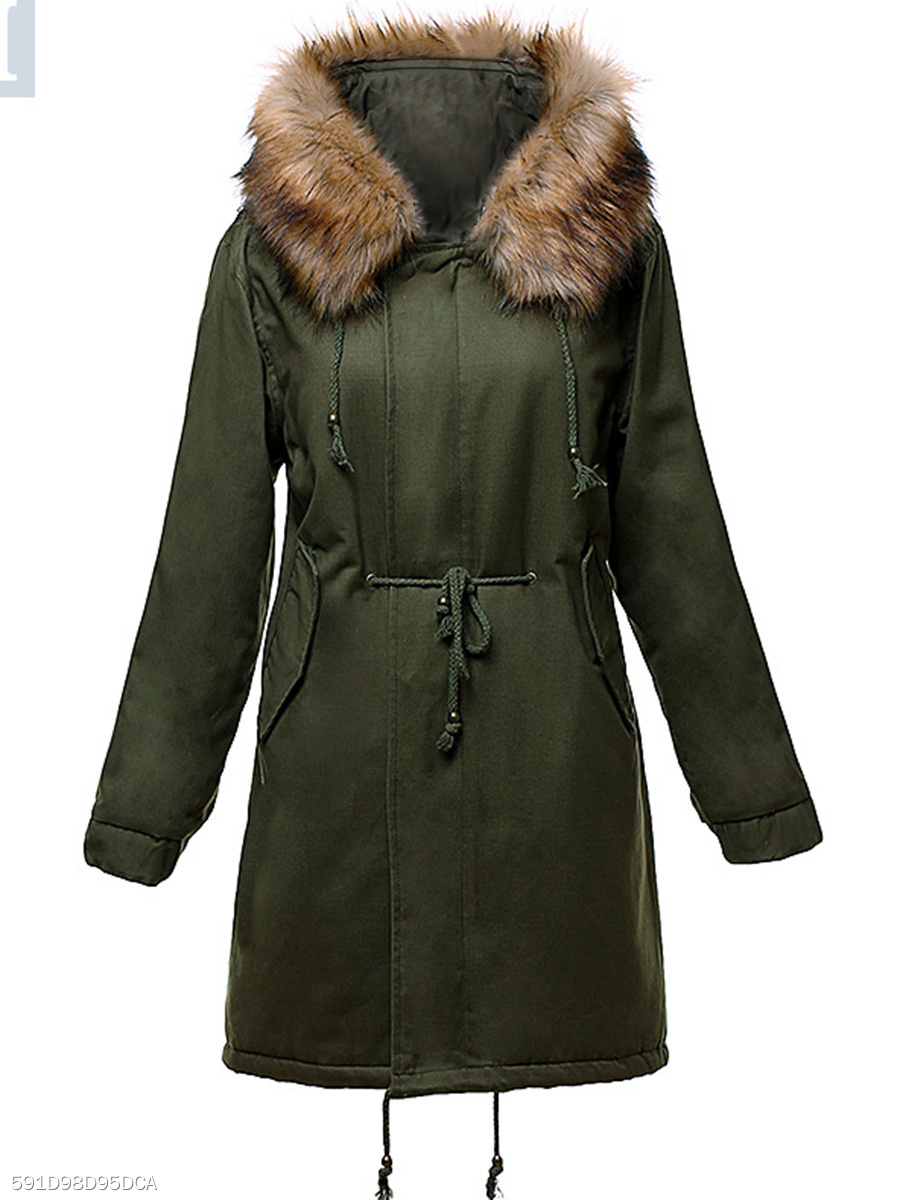 Hooded Drawstring Flap Pocket Padded Coat