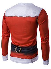 Christmas Santa Costume Printed Men Round Neck T-Shirt