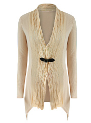 Collarless Asymmetric Hem Single Button Plain Cardigan