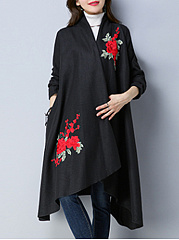 Lapel  Slit Pocket  Embroidery Long Woolen Coat