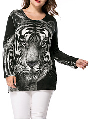 Round-Neck-Tiger-Printed-Rhinestone-Plus-Size-T-Shirt