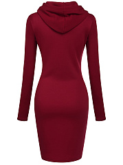 Hooded  Plain  Blend Bodycon Dress