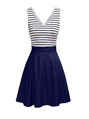 Cutout  Color Block Striped  Lovely Plus Size Flared Dress
