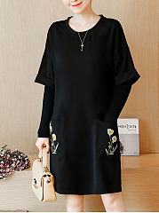 Round Neck  Embroidery Plain  Polyester Shift Dress