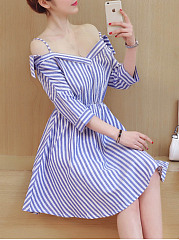 Open Shoulder  Striped Skater Dress