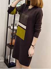 Round Neck  Color Block  Cotton Shift Dress
