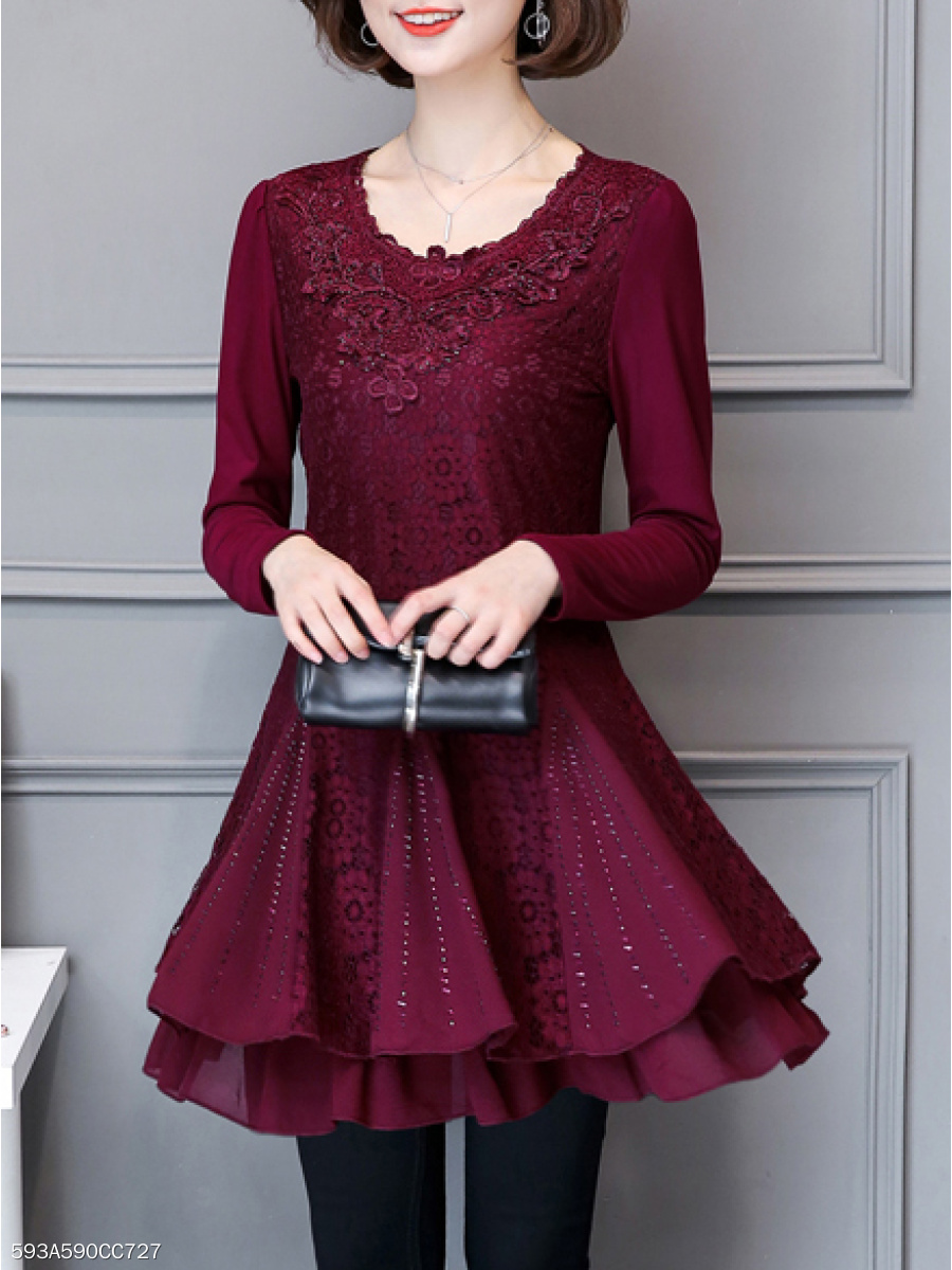 Round Neck  Diamante  Lace Skater Dress