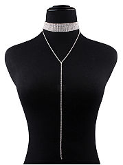 Luxury Rhinestone Long Chain Choker Necklace