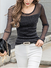 See-Through Solid Long Sleeve T-Shirt