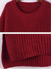 Round Neck  Plain Knit Pullover