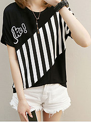 Spring-Summer-Polyester-Women-Round-Neck-Patchwork-Striped-Short-Sleeve-T-Shirts