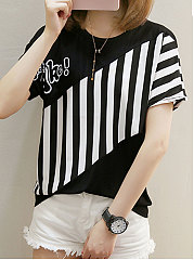 Spring Summer  Polyester  Women  Round Neck  Patchwork  Striped Short Sleeve T-Shirts
