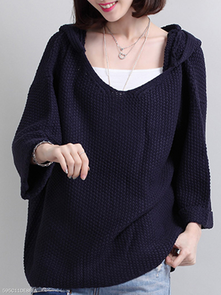 Hooded  Loose Fitting  Plain Knit Pullover