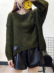 Asymmetric Hem  Plain  Long Sleeve Pullover