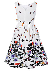 Round Neck Bowknot Butterfly Floral Printed Skater Dress