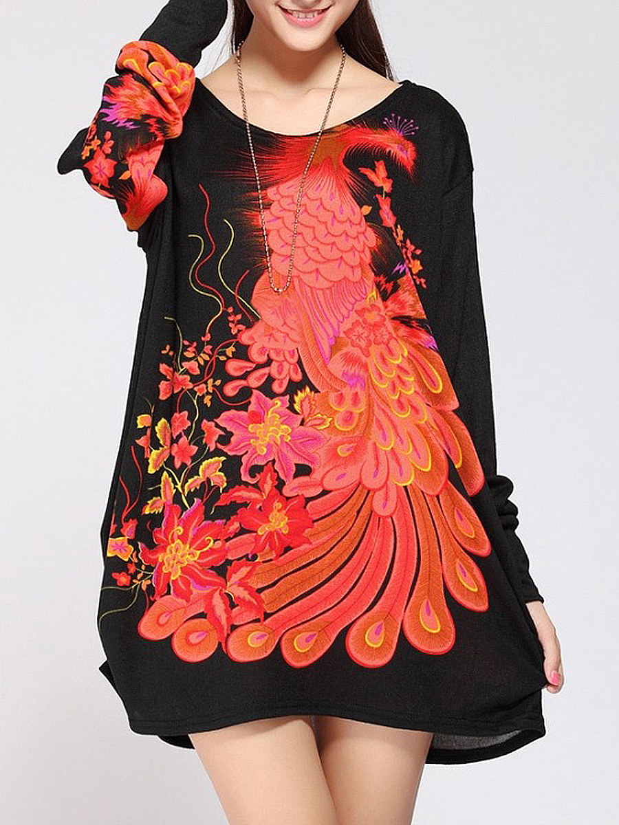 Round Neck Casual Color Block Printed Plus Size T-Shirt