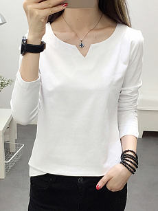 V Neck  Patchwork  Brief  Plain  Long Sleeve T-Shirt