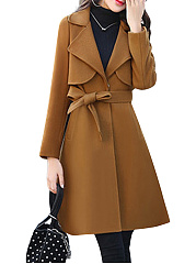 Fold-Over Collar  Belt Storm Flap  Plain  Long Sleeve Coats