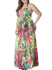 Halter Leaf Animal Printed Plus Size Maxi Dress
