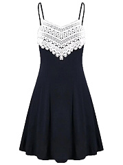 Spaghetti Strap Color Block Decorative Lace Mini Skater Dress
