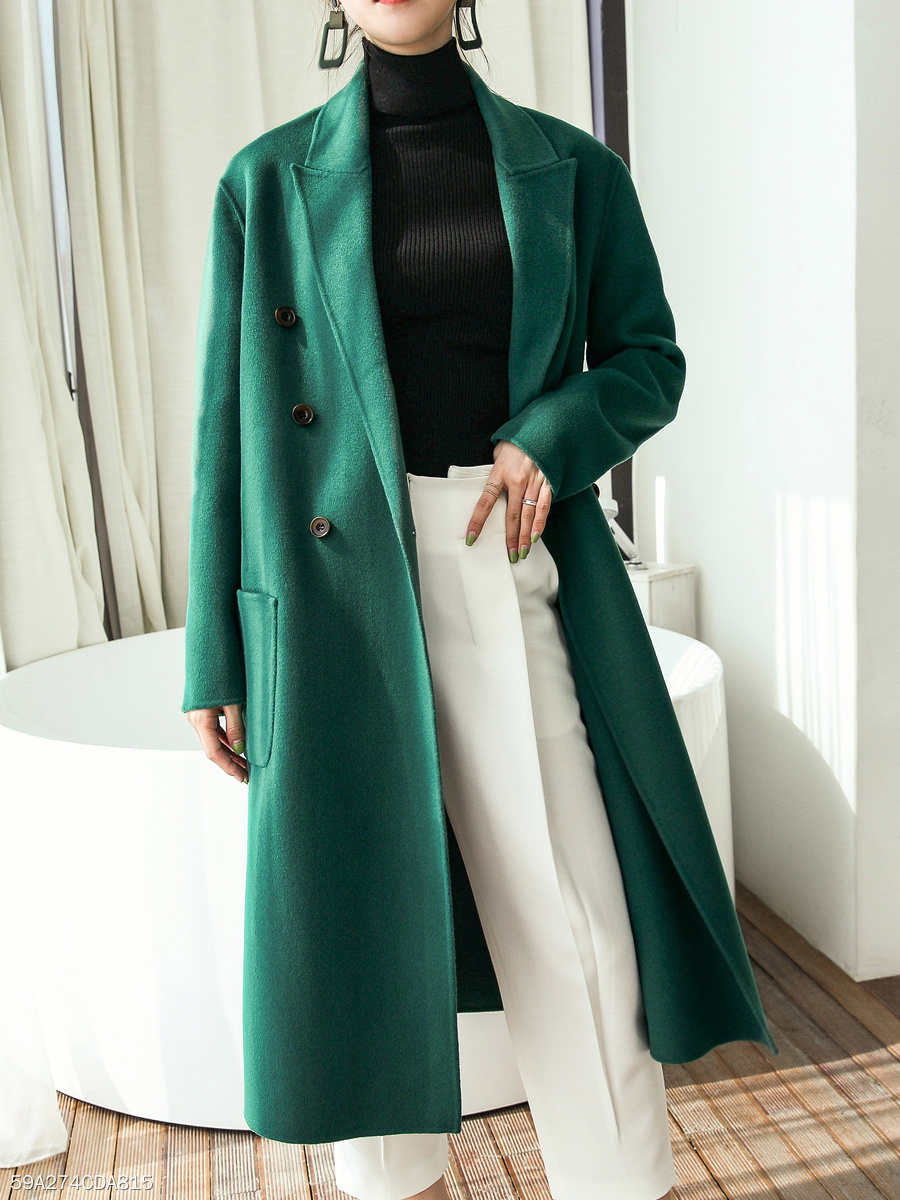 Lapel  Double Breasted Slit Pocket  Plain  Long Sleeve Coats
