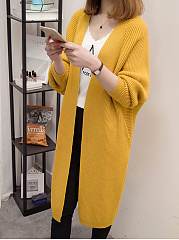 Collarless Plain Batwing Sleeve Trench Coat
