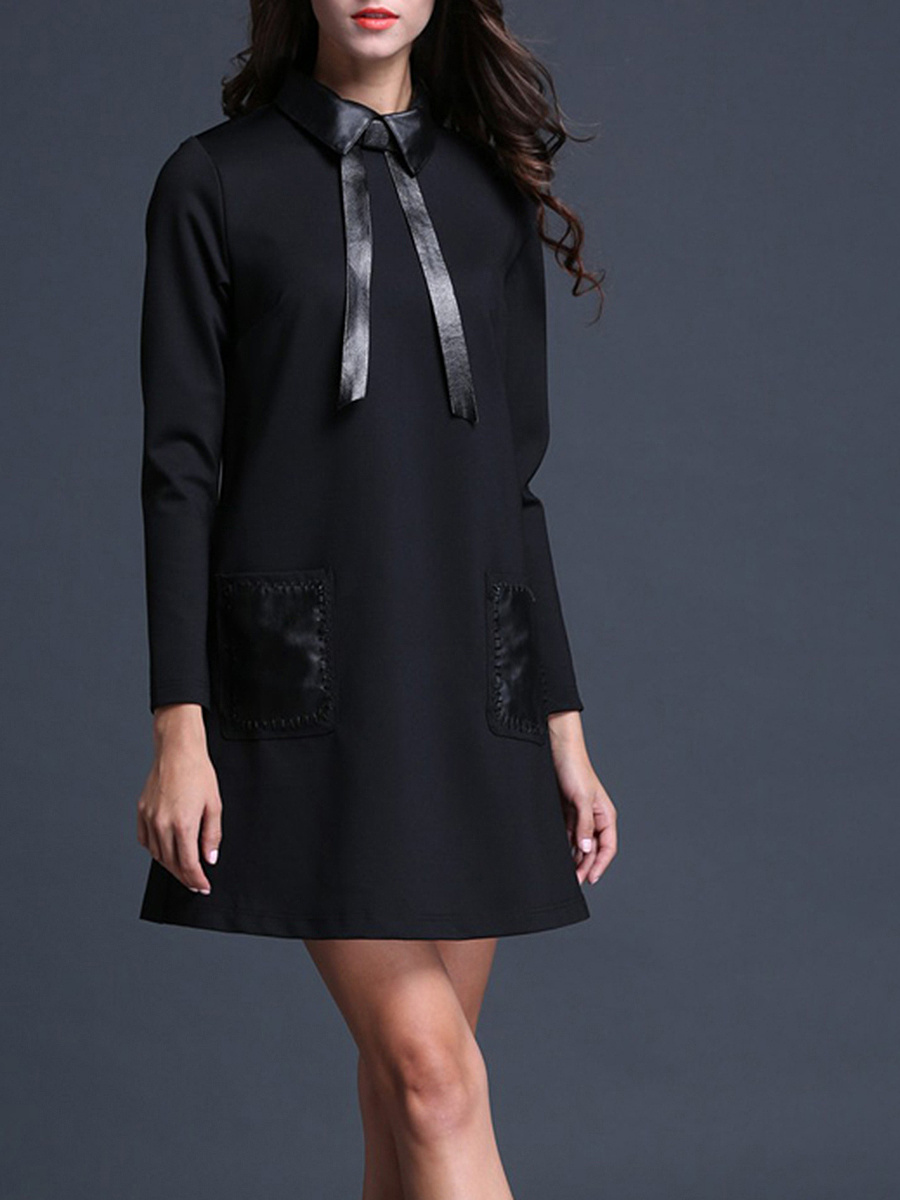 Polo Collar  Patch Pocket  Plain  Cotton Shift Dress
