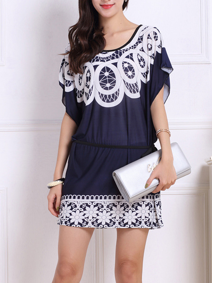 Round Neck Batwing Sleeve Printed Mini Shift Dress