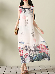 Round Neck Lotus Printed Chiffon Maxi Dress