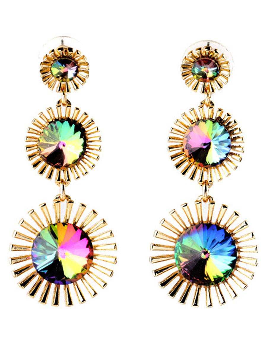 Colorful Faux Crystal Drop Earrings