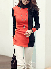 Turtleneck Color Block Long Sleeve T-Shirt