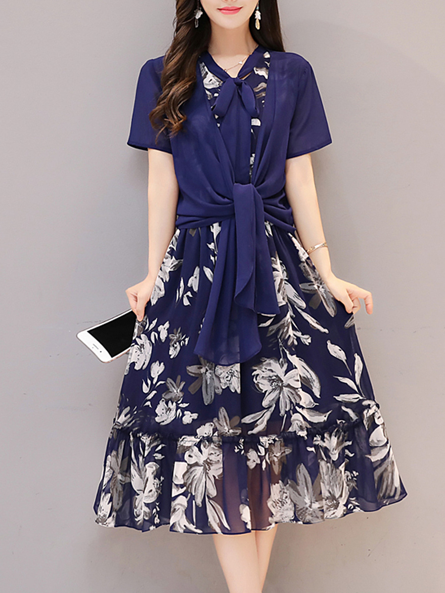 Tie Collar Floral Printed Ruffled Hem Two-Piece Maxi Dress