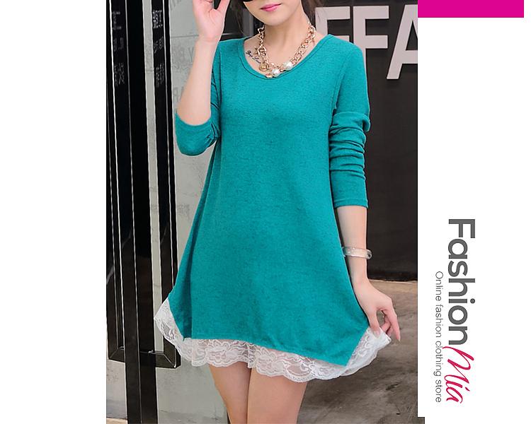 Round Neck  Decorative Lace  Plain  Cotton Shift Dress 59D80CA05546