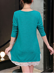 Round Neck  Decorative Lace  Plain  Cotton Shift Dress