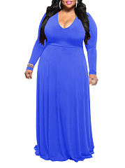 V-Neck  Plain Plus Size Midi  Maxi Dresses