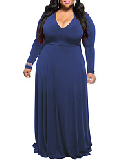 V-Neck  Plain Plus Size Midi & Maxi Dresses