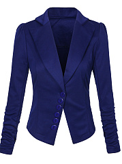 Solid Decorative Button Notch Lapel Blazer