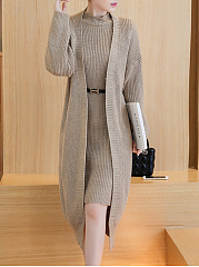 Band Collar Plain Knitted Two-Piece Bodycon Dress