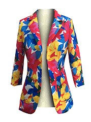 Narrow Notch Lapel  Slit Pocket  Floral  Three-Quarter Sleeve Blazers